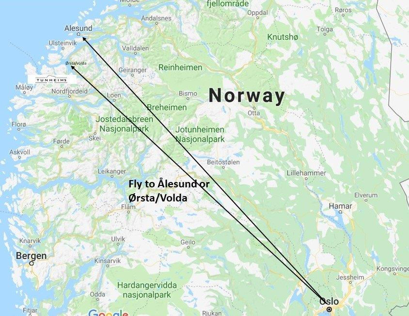map showing directions from Oslo to Tunheims Fjørå