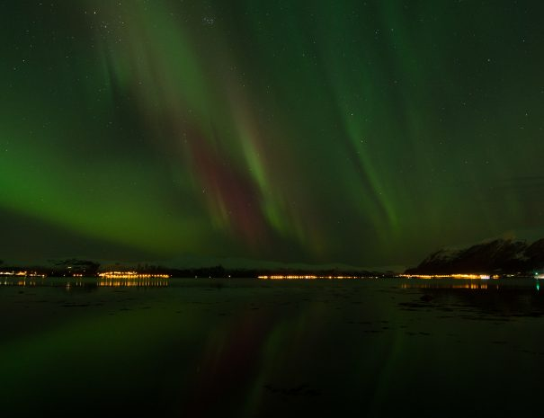 norther lights in the night sky in Vanylven