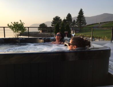 two women in a Jacuzzi