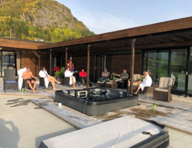 Group of people relaxing on the terrace